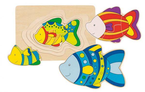 goki Schichtenpuzzle Fisch Schmetterling 5789757899